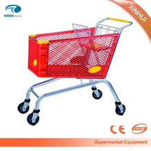 2016 Hot selling portable 4 wheels plastic supermarket shopping trolley cart