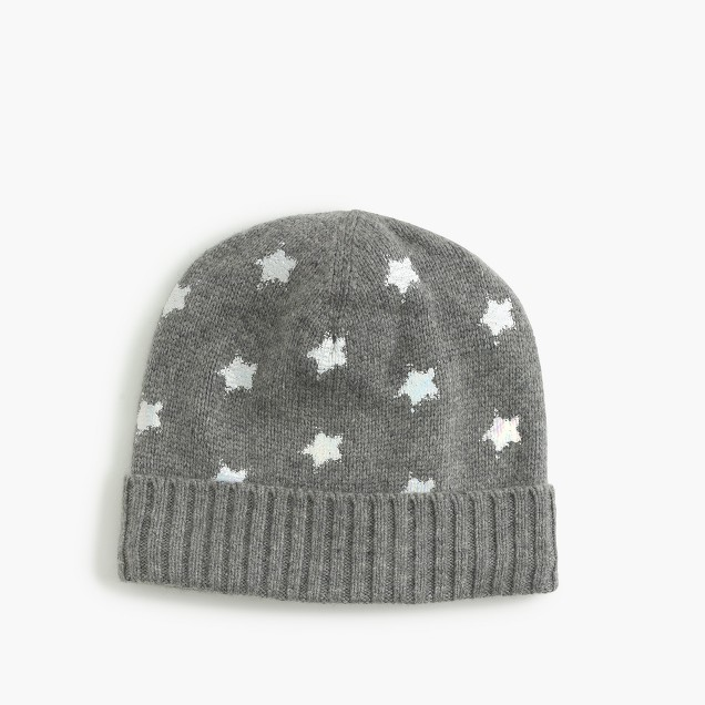 GIRLS KNITTED HAT WITH STAR FOIL PRINTING