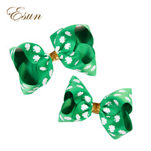 st. patrick's day big butterfly korker hair bow on hardband