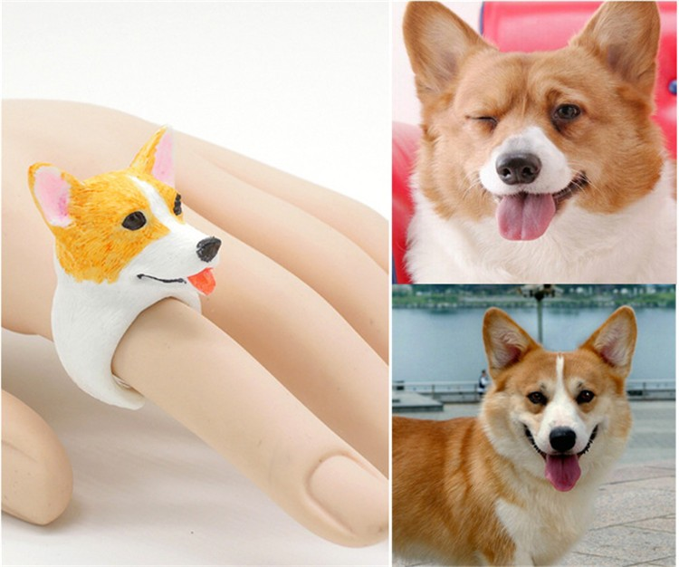 Daihe fashionable jewelry Corgi dog shape kids ring