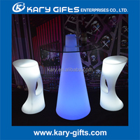 Glowing table with top glass Led bar table