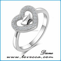 MAX- Beautiful 925 Silver Micro Cz Stone Heart Ring For Lovers