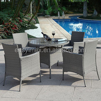 Rattan Outdoor Garden Hot Sale 4 Chairs Round Table Dining