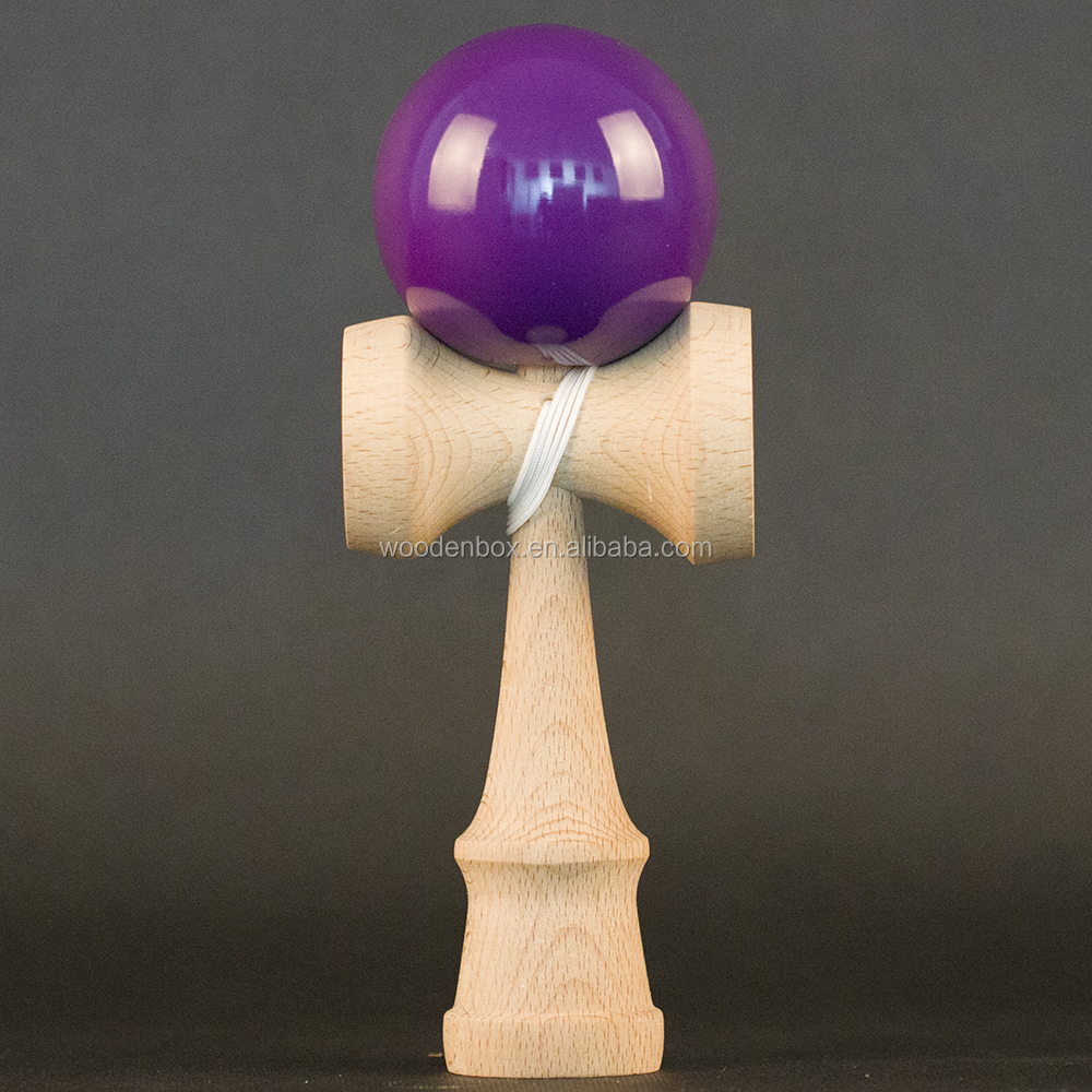 Wholesale solid color wooden kendama toy with tacky paint purple tamas