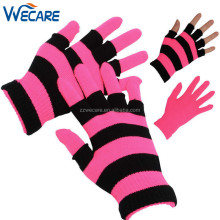 Promotion Sales Unisex Custom Winter Acrylic Stretchy Stripe Knitted Bright Magic Neon Gloves