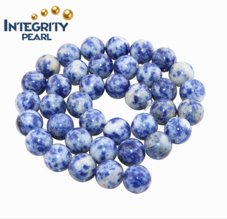 Semi precious natural stone loose beads round 4-12mm white and blue loose gemstone for sale