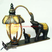 Table Lamps : One Small And One Big Elephant Wood Craft Models No.1 - Thai Vintage Wood Carving Table Lamps For Home Decor