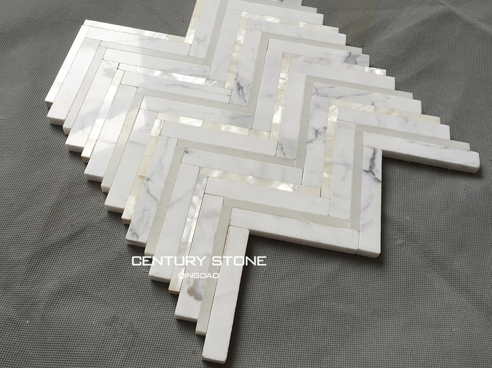 White Marble And Mother Of pearl Shell Chevron Mosaic Tile