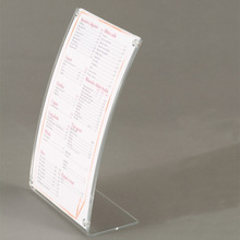 Custom Slanted Curved Clear Acrylic Menu Sign Holder Price Tag Display