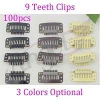 1 bag-1000pcs 32mm 9-teeth-1 Snap/wig/weft hair Clips with silicone back for Hair Extension accessories tool
