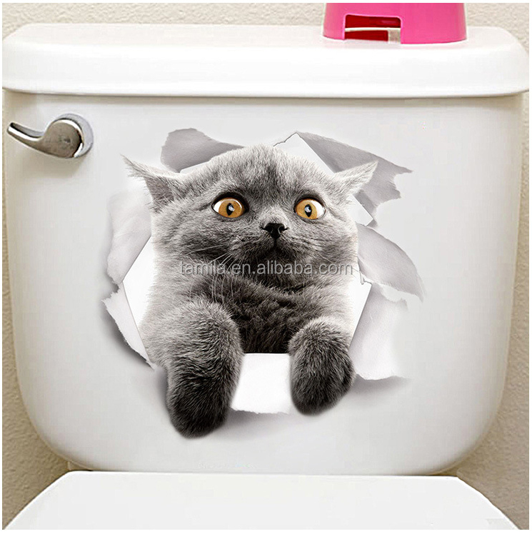 Wholesale cute Cat design sticker home decor toilet stickers