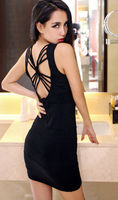 fashion doll girl tight skirts deep u-neck bandage slimming nightclub woman's sexy black evening sex dress