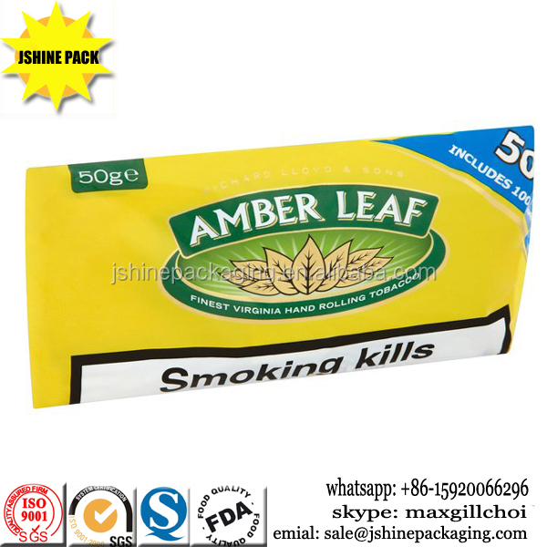 custom printing plastic sealable pouch tobacco