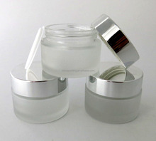 Free sample 30g frosted cosmetic cream glass jar with silver screw cap