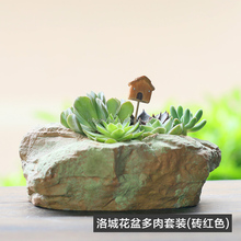 Roogo home resin new products decorative natural stone plate garden plant flower indoor pots christmas decor pots for sale