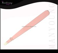 Pink color tweezers for lashes for girls