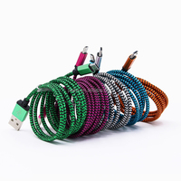 Fabric Woven Nylon Micro USB 5 Pin Data Sync Charger Cable for Samsung Galaxy S3 S4