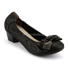 Guangzhou Runto shoes factory wholesale black bowknot ladies fancy elegant genuine leather low heel shoes