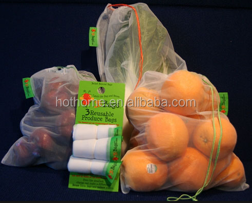 Reusable Drawstring Mesh Produce Bags For Store Food, Fruit / Vegetable