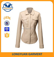 high quality new design lady casual PU jacket blouse breathable synthetic leather shirt for women