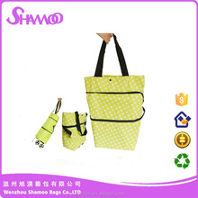 Portable and colorful tote bag shopping trolley bag with wheels