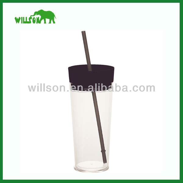 Plastic straw bottle with lid
