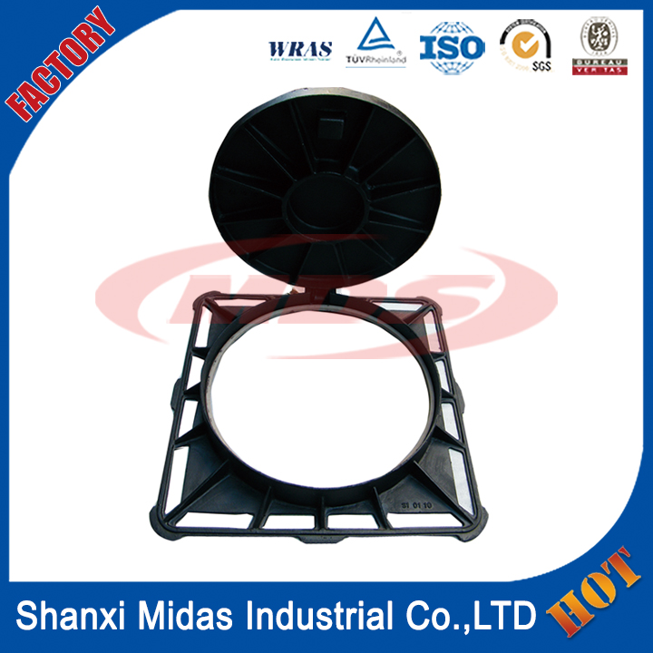EN124 ductile cast iron square and round manhole cover, China manhole cover foundry