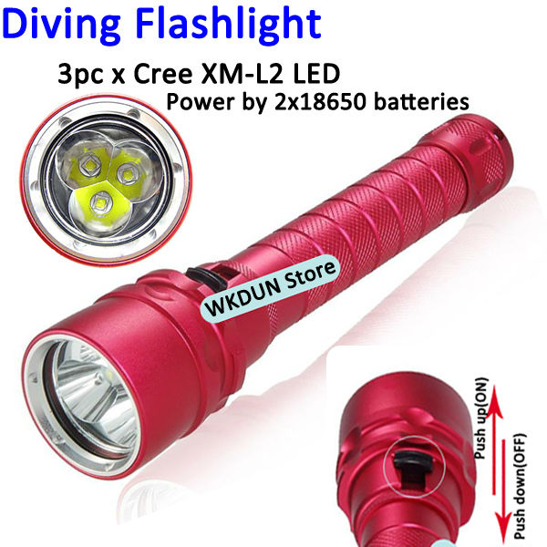 Diving Flashlight U2 3x Cree XM-L2 LED 5000 lumens rechargeable led diving flashlight torch