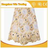 Fashion 2016 Heavy African Lace Fabric Swiss Voile Lace Fabric/ Gold Lace Cotton Fabric For Stock Garment Vietnam