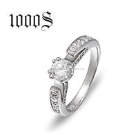 Wholesale Costume Jewelry 925 Sterling Silver Diamond White Gold Wedding Rings
