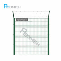 Made In Guangdong Hot! coated steel picket fence supply with popular style welded wire mesh fence panel