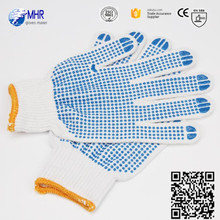 Brand MHR 7/10 gauge white PVC dotted cotton gloves PVC dotted white saftey working cotton glove