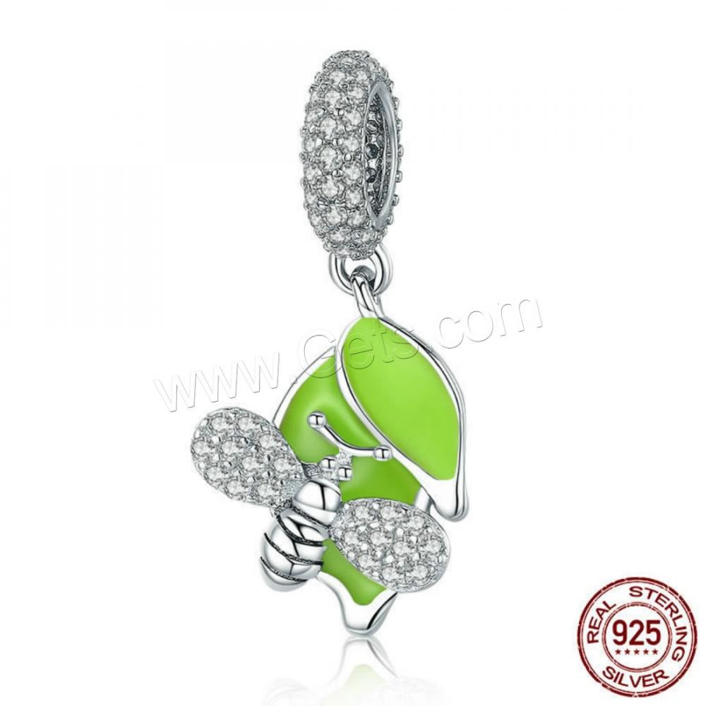 silver charms 925 Sterling European Pendants Bee platinum plated & enamel & with cubic zirconia Hole:Approx 4.5-5mm 1303318