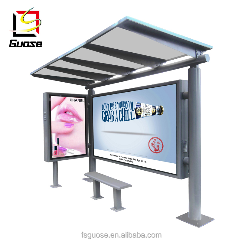 Solar power led screen bus stop shelter