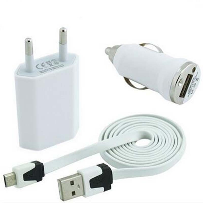 Mobile 3 in 1 charger set EU plug travel charger + car charger + USB sync cable