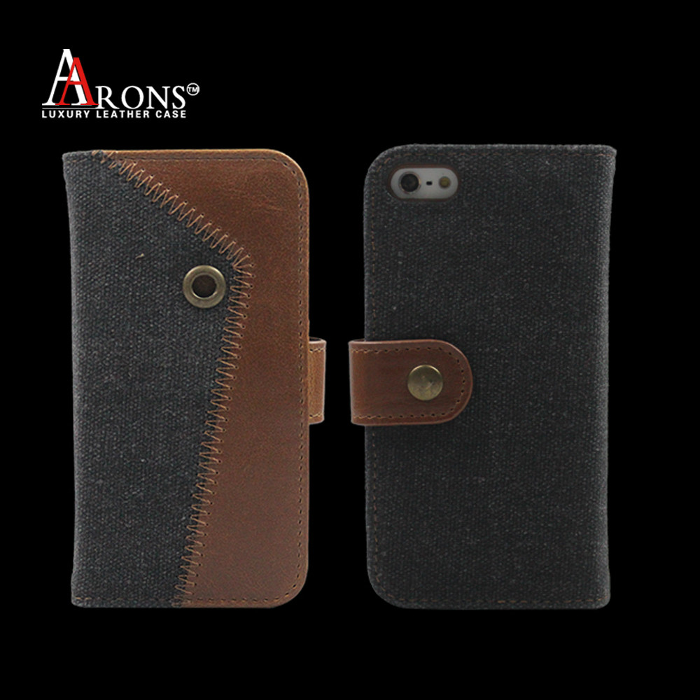 Jean cloth stitching leather phone case for iphone 5 battery case