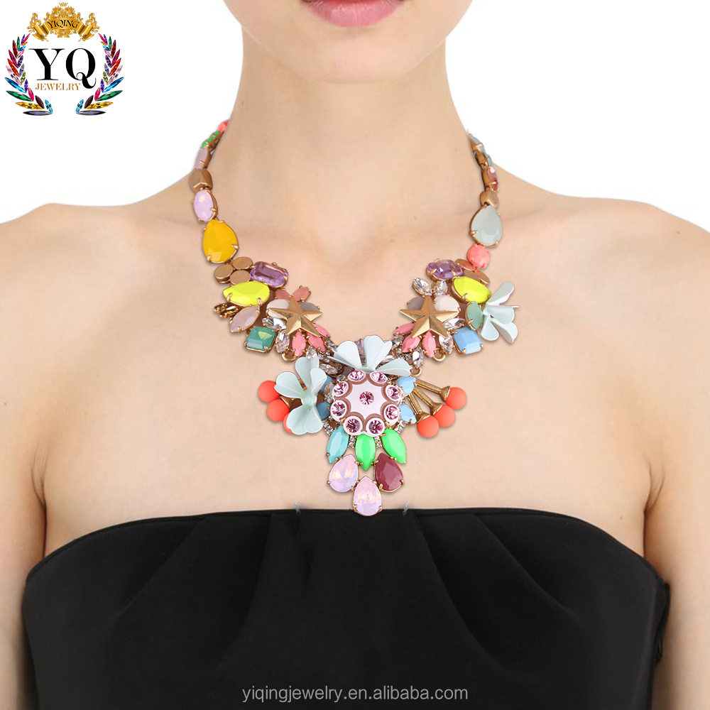 NYQ-00920 boho style colorful flower crystal enamel jewelry accessory necklace for women