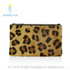 Leopard pattern fur style clutch bag, zip top closure purse for fahsion women