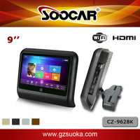 9 inch Android OS car headrest monitor with HDMI 1080P USB SD WiFi Capacitive Touchscreen Karaoke Player Support 1TB Hard Drive