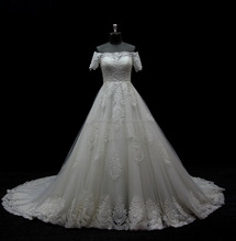 alibaba new arrival lace short sleeve muslim ball gown wedding dress bridal gown