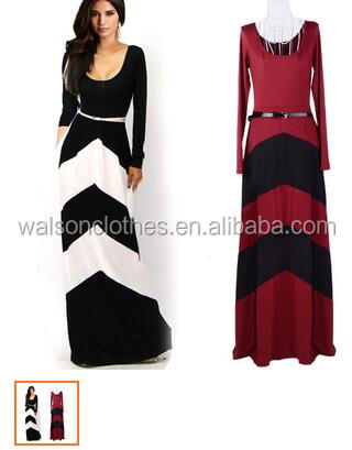 Wholesale walson Woman summer Celeb Style Long Sleeve Slim Maxi Dress With Belt Beach Long Dress