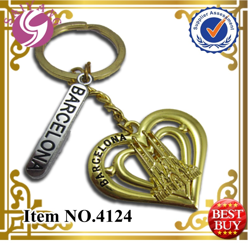4124 Wholesale Espana Metal keychain Souvenir Gold Metal Keyrings Promotional Keyrings Gift Barcelona Gift Keyrings