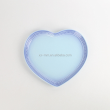 9 inch heart shape double color flat porcelain plate for dinner