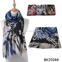 2016 Stock new design viscose scrawl printing shawl scarf ladies fashion scarves wholesale