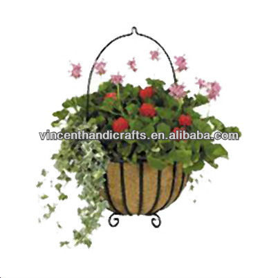 Antique chic style wall plant pot containers window box shabby vintage cottage metal planter with coco liner