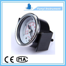 Factory price black steel panel mount pressure gauge