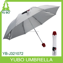 21 inch rose bottle umbrella, 3 foldable umbrella with rose bottle