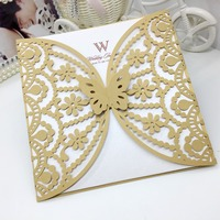 2015 new design Elegant MeterGold Hollow Flower Butterfly Laser Cut wedding invatation Card With Envelope For Wedding Decoration