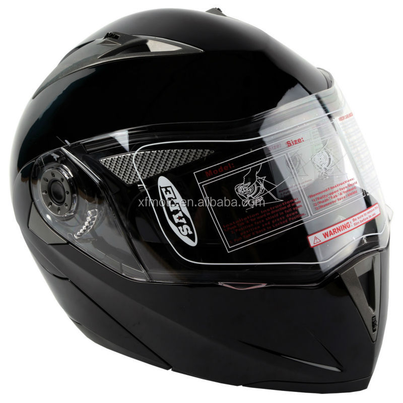 DOT Gloss Black Modular Flip Up Dual Visor Sun Street Motorcycle Helmet S M L XL