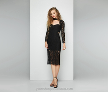 Look-through Back charming Black lace designer one piece party dress party gowns